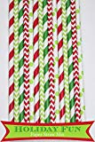 125 Pcs Christmas Green and Red Stripe Dot Chevron Paper Straw Mix