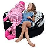 "2 Sizes in 1 Large Bean bag Stuffed Animal Storage | XL Jumbo Ottoman for Soft Toys, Plush Toys | Giant Pouf Organizer for Linens, Quilts, Pillows | 300 L. / 80 Gal. | 42"" | Black & White"