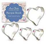 "Ann Clark Heart Cookie Cutter Set with Recipe Booklet - 4 Piece - 2 5/8"", 3 1/4"", 3 5/8"", 4"" - Tin Plated Steel"