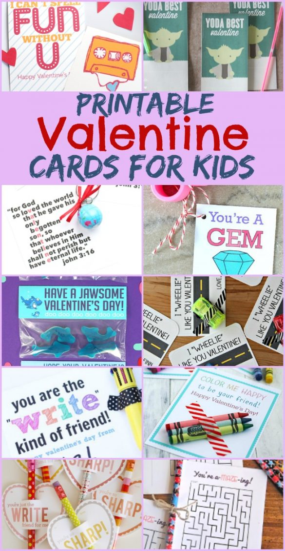 These printable Valentine cards for kids are suitable for preschool, kindergarten and grade school children to exchange for the holiday.