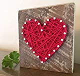 Sweet & small red string art heart gift sign. Gifts for Valentine's Day, home accents, Wedding favors, Anniversaries, housewarming, teachers, congratulations & just because gifts by Nail it Art.