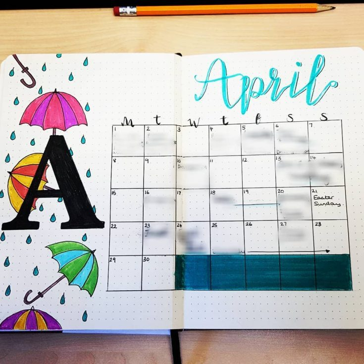 April Showers Monthly Calendar