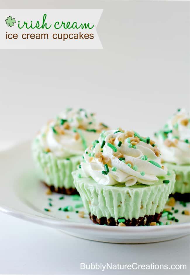Irish Cream Ice Cream Cupcakes
