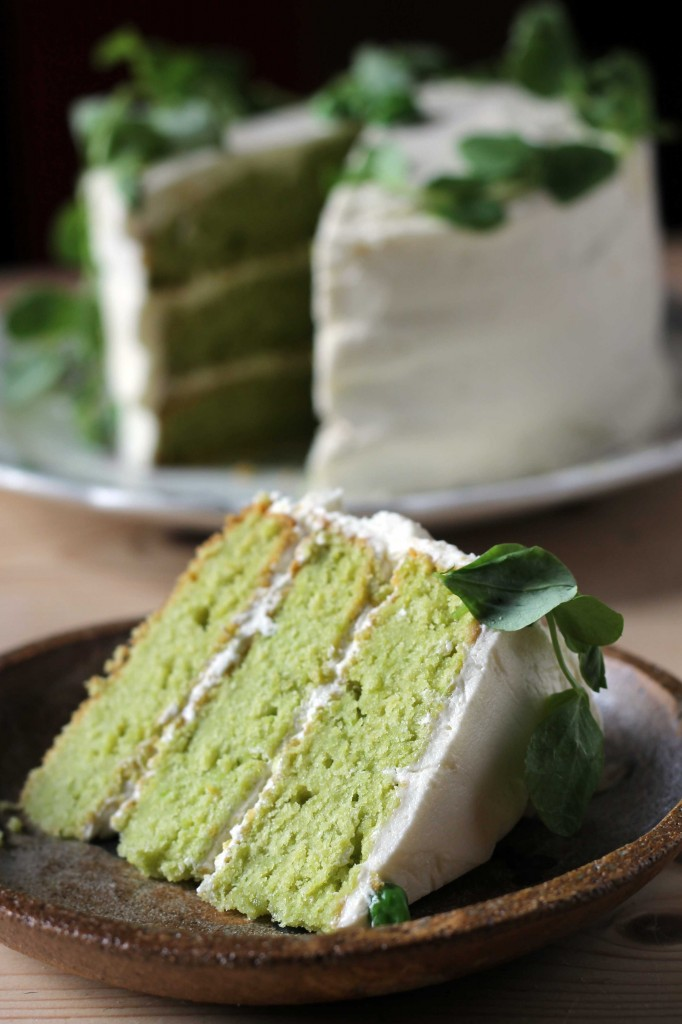 Pea and Vanilla Cake with Lemon Icing
