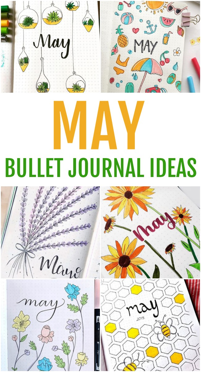 May Bullet Journal Ideas - Monthly Layout Spread | Cover Page | Setup