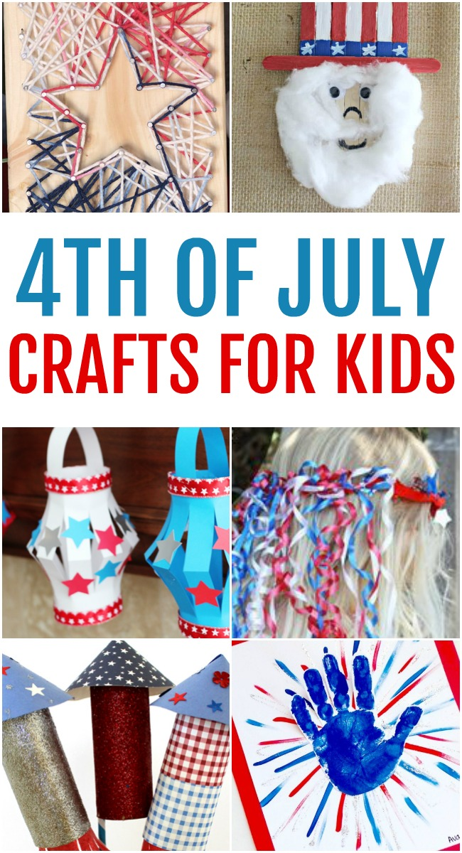 This photo features a collage of fun and creative 4th of July crafts for kids to make.