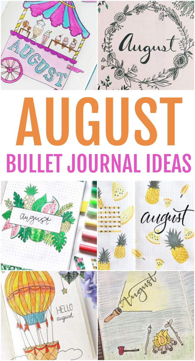 This photo features different images in a collage of August Bullet Journal Ideas.