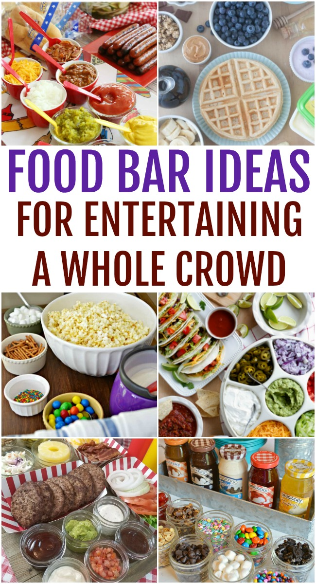 This photo features a collage of different food bar ideas with the heading labeled as such as well.