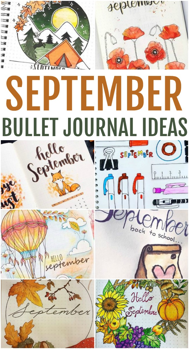 This photo features a collage of different September Bullet Journal Ideas.