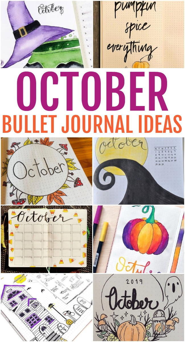 This photo features a collages of October Bullet Journal Ideas