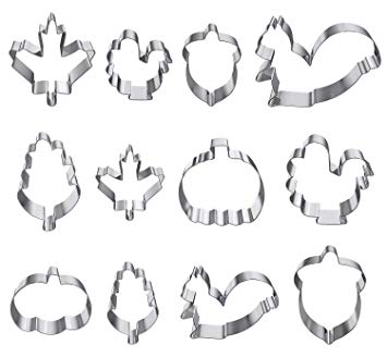 12 Piece Fall Cookie Cutters for Playdough Playing