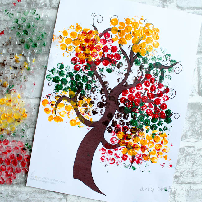 Bubble Wrap Autumn Tree Craft