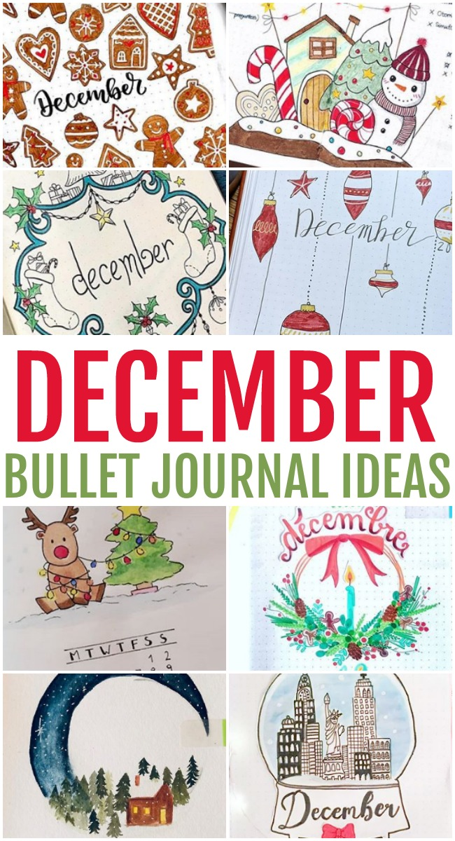 This photo features a collage of December Bullet Journal Ideas.