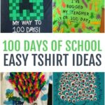 This photo features a collage of different 100 days of school tshirt designs.