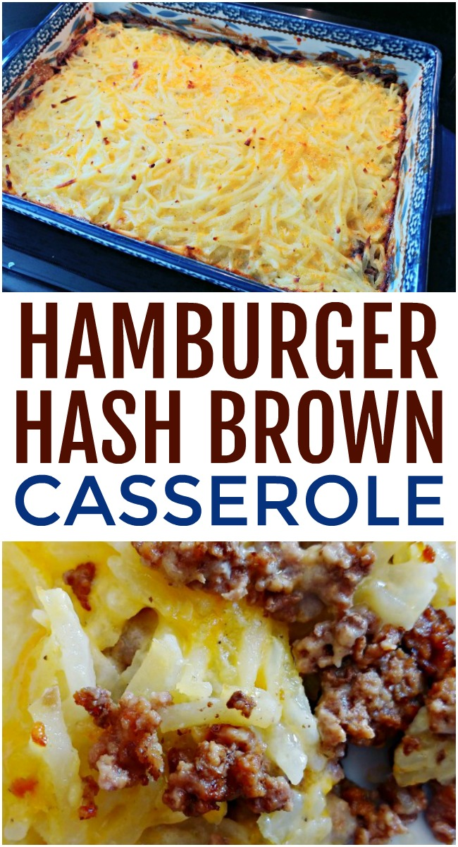 This photo features what a completed dish of hamburger hash brown casserole looks like.