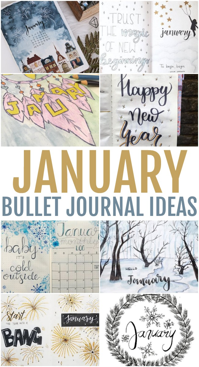 This photo features a collage of different January Bullet Journal Ideas