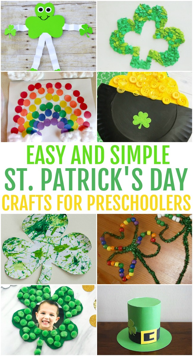 Photo collage of different types of St. Patrick's Day green and gold art projects that are simple for young children. These include shamrocks and leprechauns.