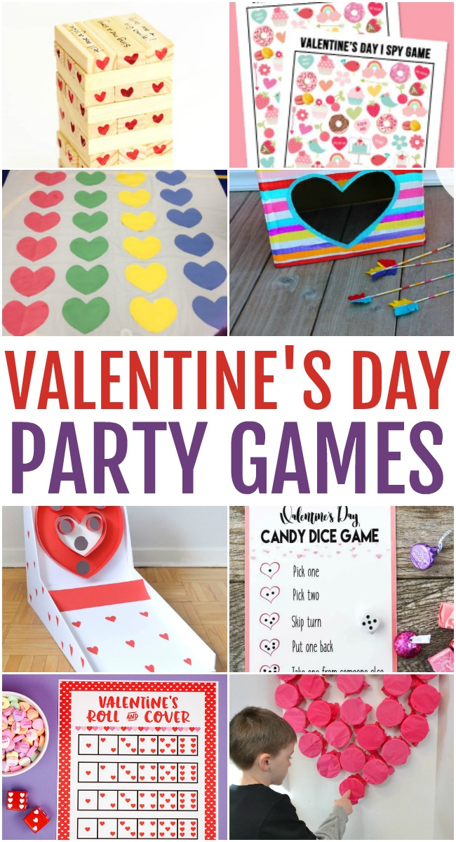 Photo of various Valentine's Day Party Games, including a take on twister with hearts, a heart skeeball diy, and free printables.
