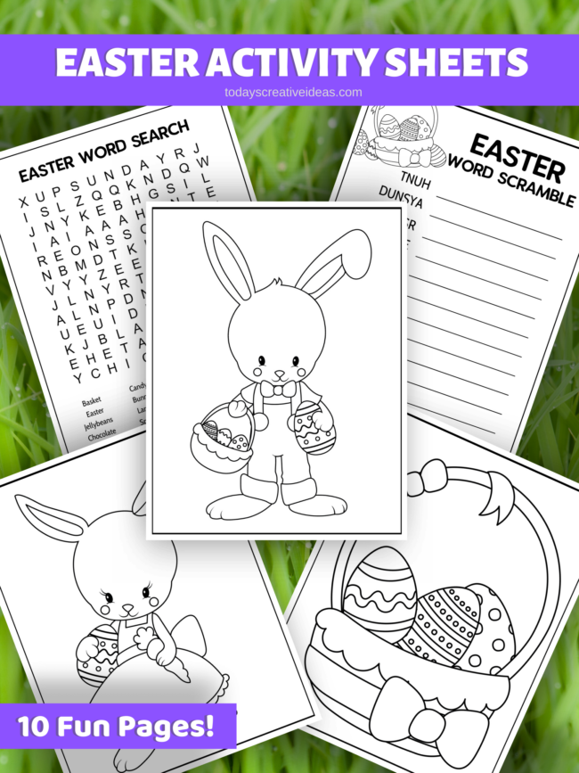 Collage of Easter Printables Activity Pack prints