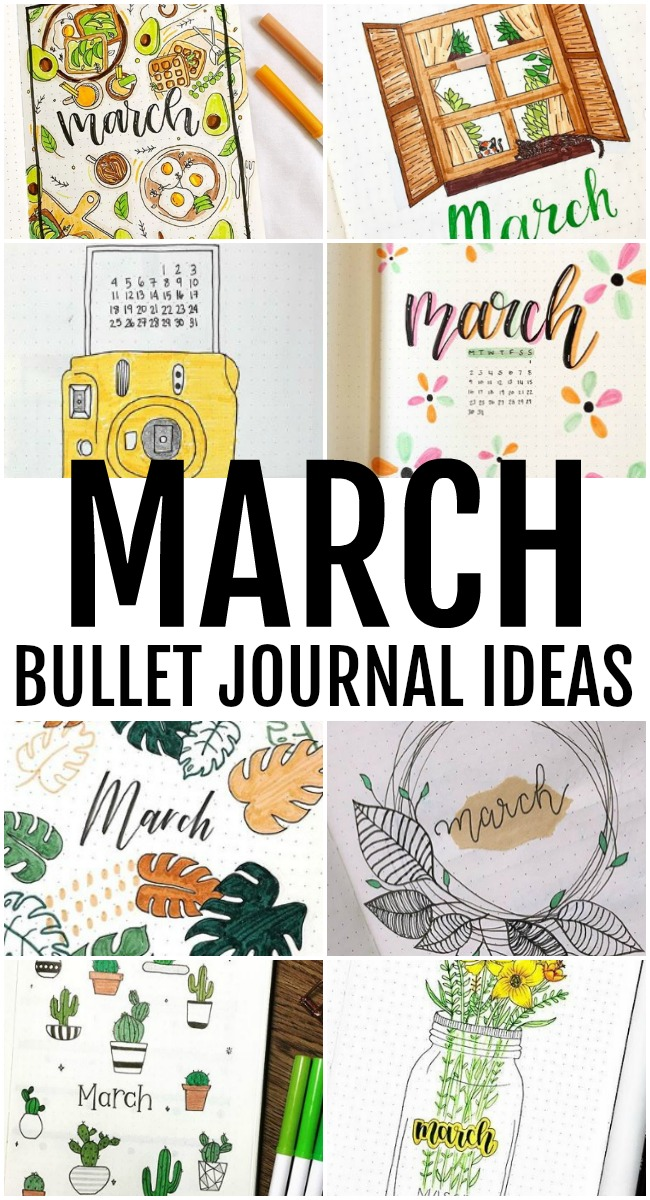 Collage of March Bullet Journal ideas