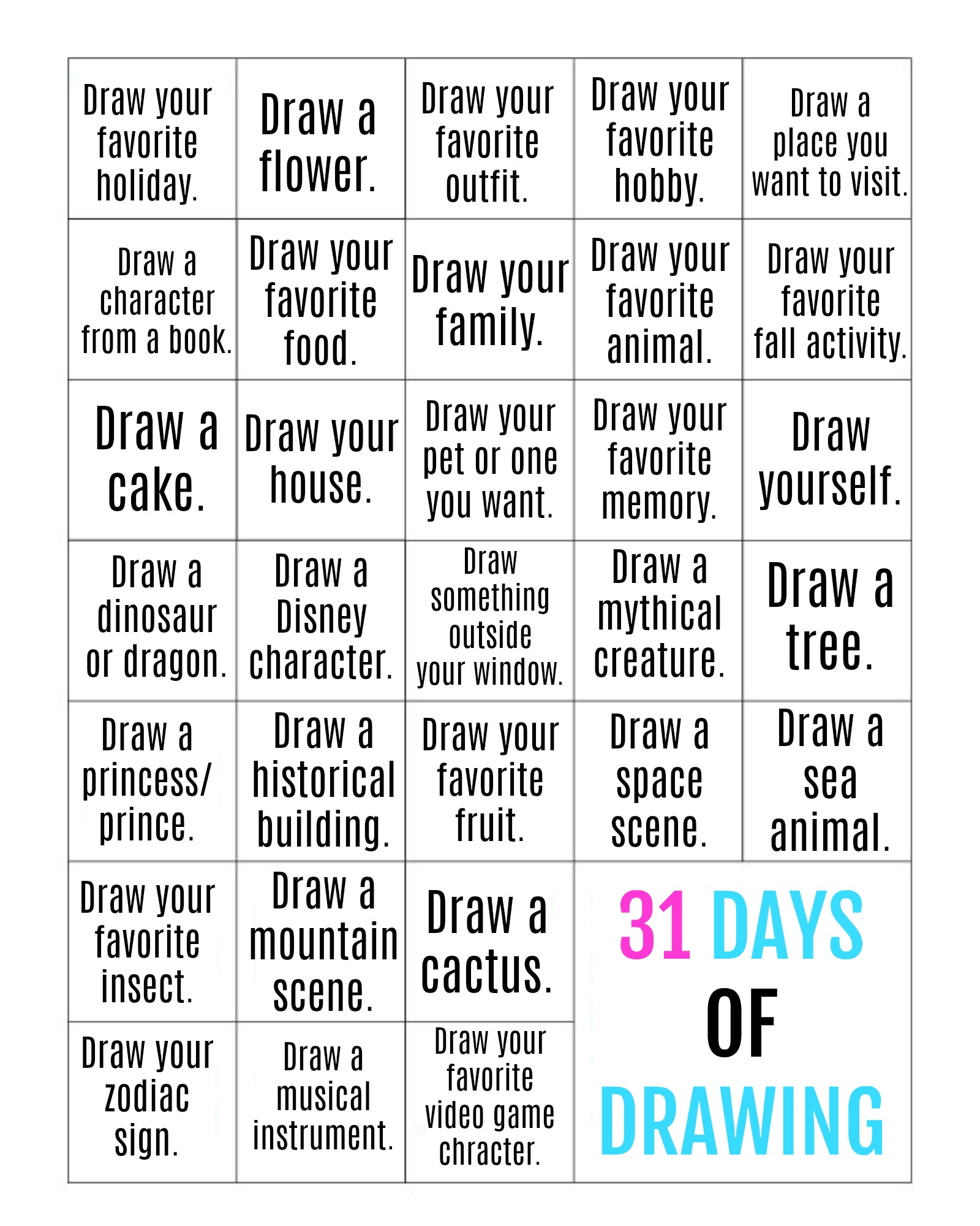 31 Days Of Drawing Challenge Today S Creative Ideas