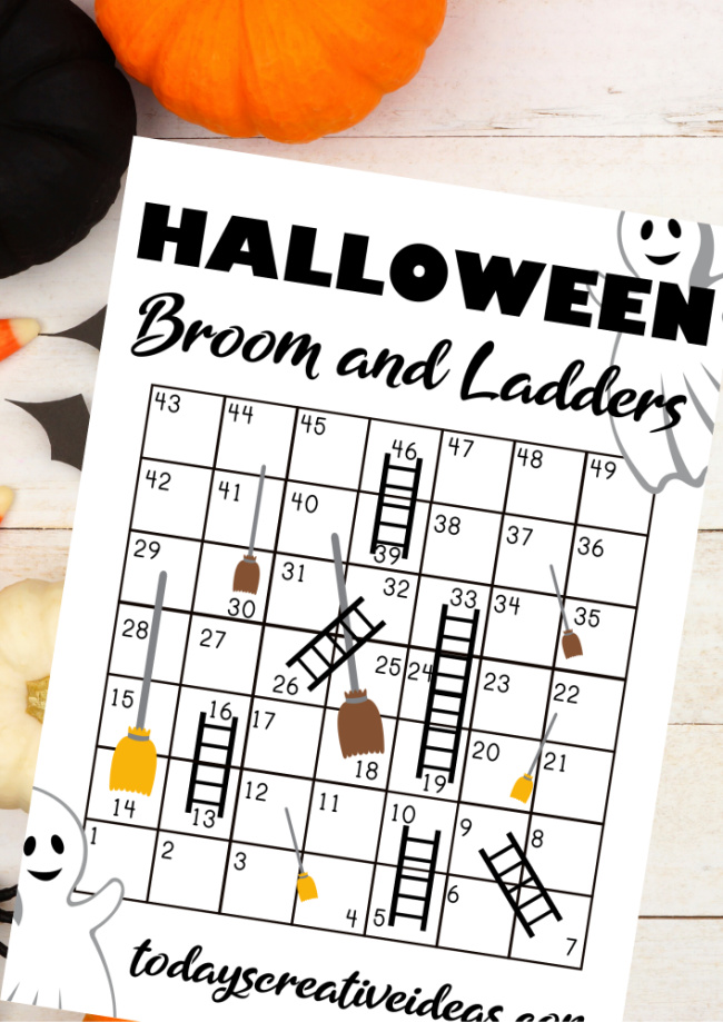 This photo features a image of the printable Halloween game for Kids. It is called Brooms and Ladders.