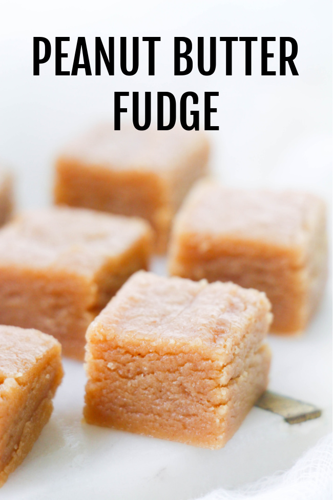 This photo features 1 inch cut pieces of peanut butter fudge.