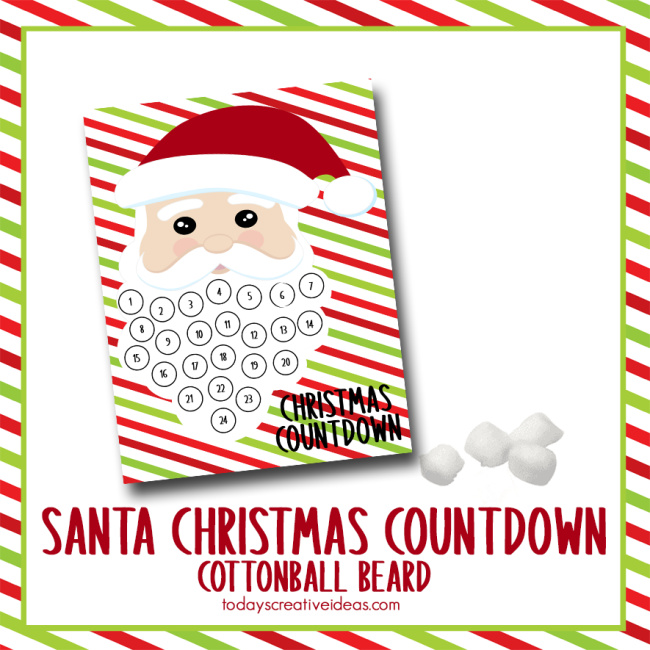 This photo features a white background with a copy of the Cotton ball Santa Beard Christmas Countdown printable on it.