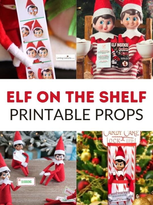 This photo features a collage of different Elf on the Shelf Printable Props. It also includes that label in the center.