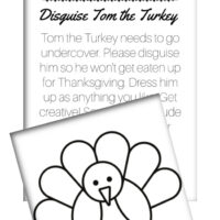 This photo features a layout of the Tom the Turkey Free Printables, including the instructions printable and the turkey template.