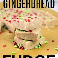 This photo features the gingerbread fudge cut up in individual pieces on a piece of brown parchment paper.