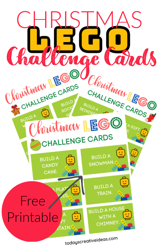 This photo features a collage of Christmas LEGO Challenge card printables.