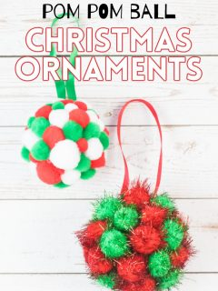This photo features samples of the pom pom ball Christmas ornaments.