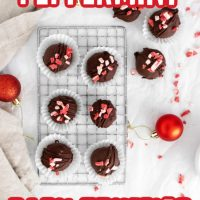 This photo features a rack of Peppermint Bark Truffles with a few Christmas balls spread out for photo props.