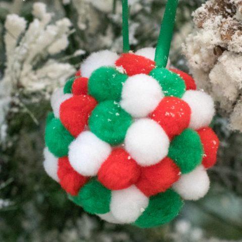 DIY Pom Pom Ball Christmas Ornaments