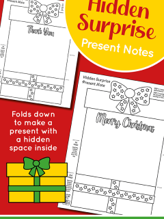 This photo features a collage of how the present folding surprise printables look with a red background.