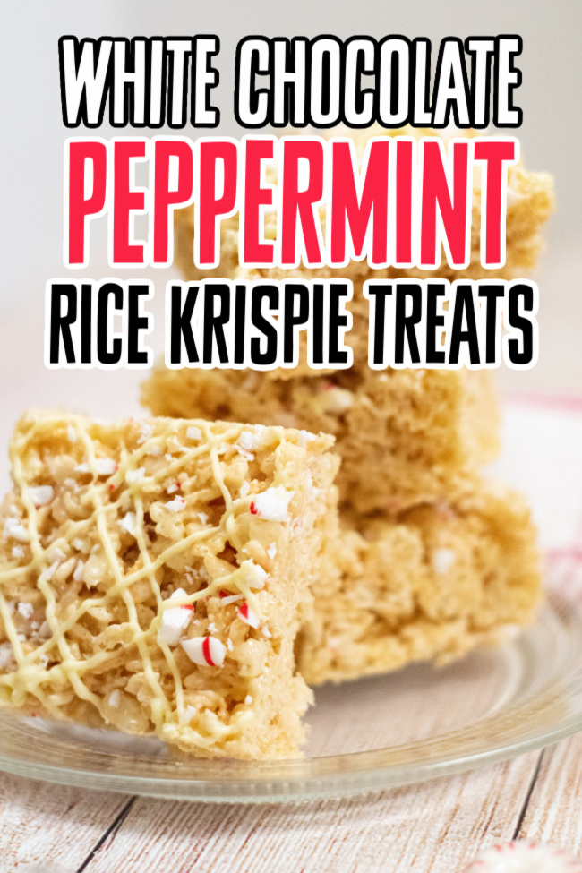 This photo features a stack of white chocolate peppermint rice krispie treats.