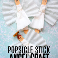 This photo features various popsicle stick angel crafts created using the tutorial in this post.