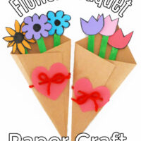 This photo features two completed flower bouquet paper crafts created for Valentine's Day and Mother's Day.
