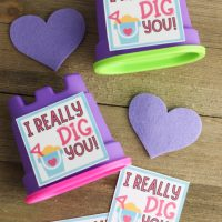This photo features examples of the I really dig you free Valentine printable.