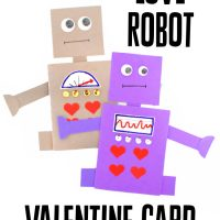 This photo features two of the created Love Robot Valentine Card examples.