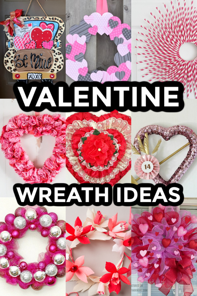 This photo shows a collage of different Valentine's Wreath Ideas.