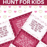 This photo features a collage of the two different Valentine's Day Scavenger Hunt Printables.