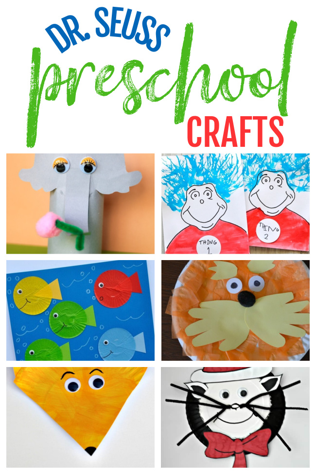 A collage of various different Dr. Seuss Crafts for Preschool