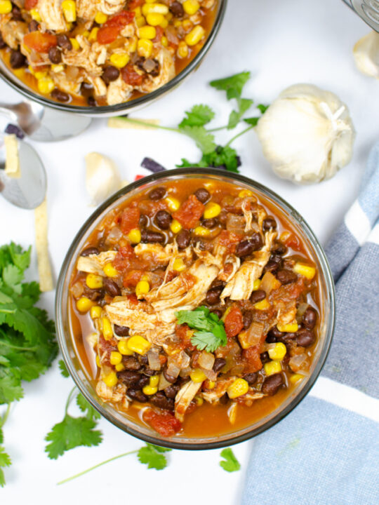 This photo features a bowl of the taco soup recipe.