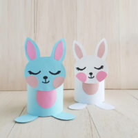 Two created samples of toilet paper roll bunny crafts