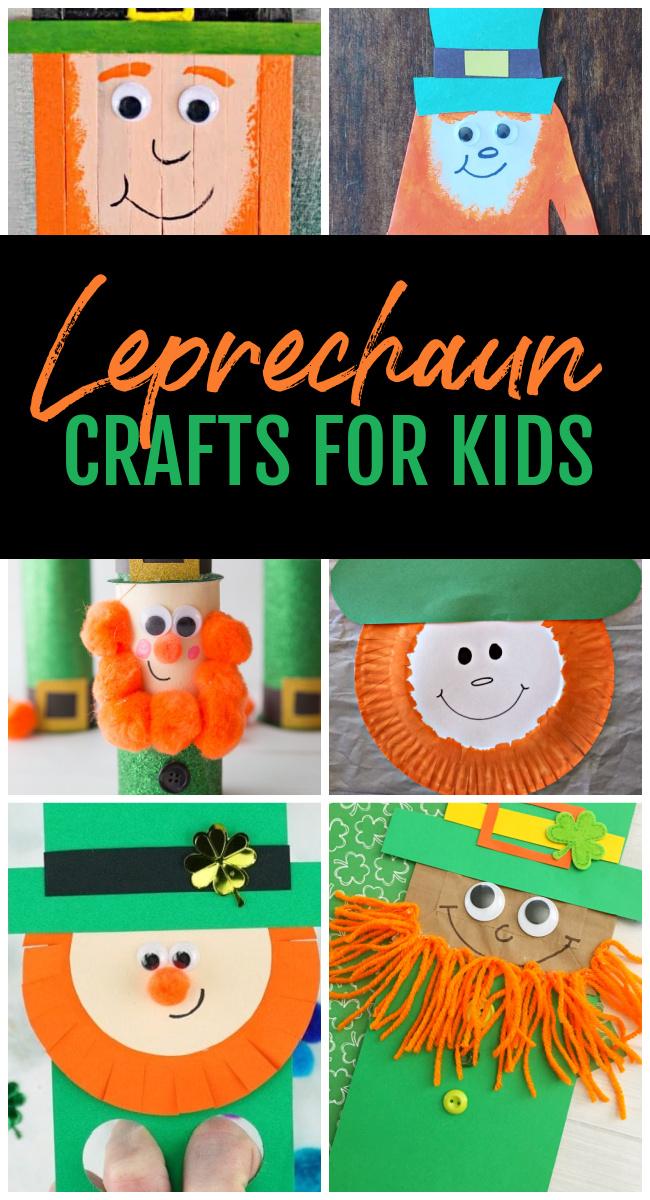 Collage of Leprechaun Crafts for Kids