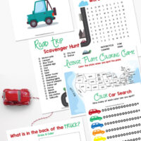 Collage of the different road trip activities in this printable pack.