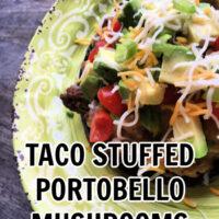 Taco Stuffed portobello mushrooms on a yellow plate
