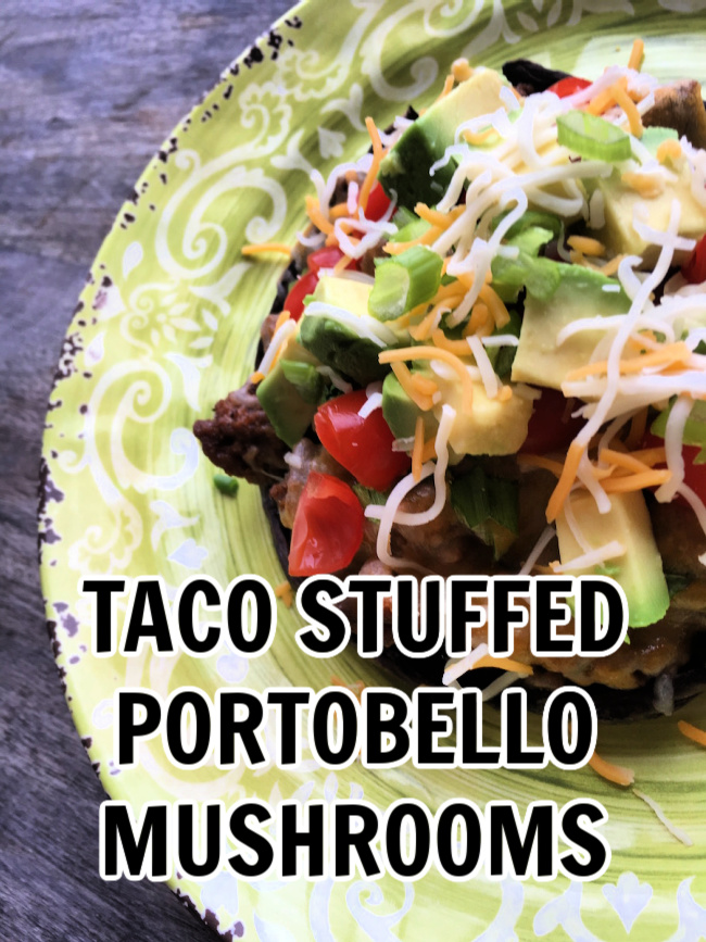 Taco Stuffed portobello mushrooms on a yellow plate